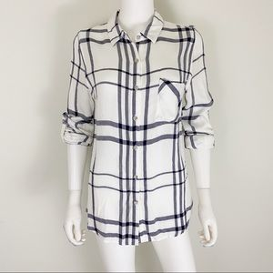 Thread & Supply M White Blue Plaid Roll Tab Top